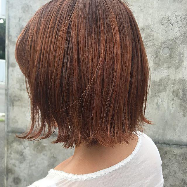 担当シオリ @shiori_tomii orange hairstylingはvilla lodolaで♡#abond #shiori_hair #haircolor #オレンジヘアー