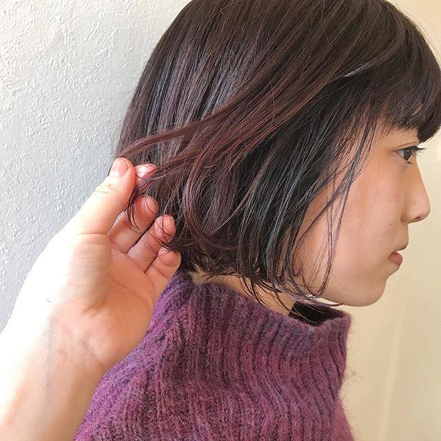 担当シオリ @shiori_tomii レッドオレンジカラー #abond #shiori_hair #bob#高崎美容室