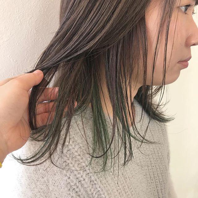 担当シオリ @shiori_tomii 成人式にむけてpinkとgreenのハイライト#abond #shiori_hair #ハイライト#高崎美容室