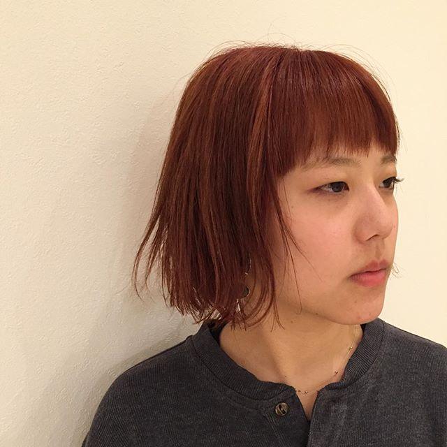 stylist:塚越smoky orange#abond#高崎#オレンジ#ボブ#美容室