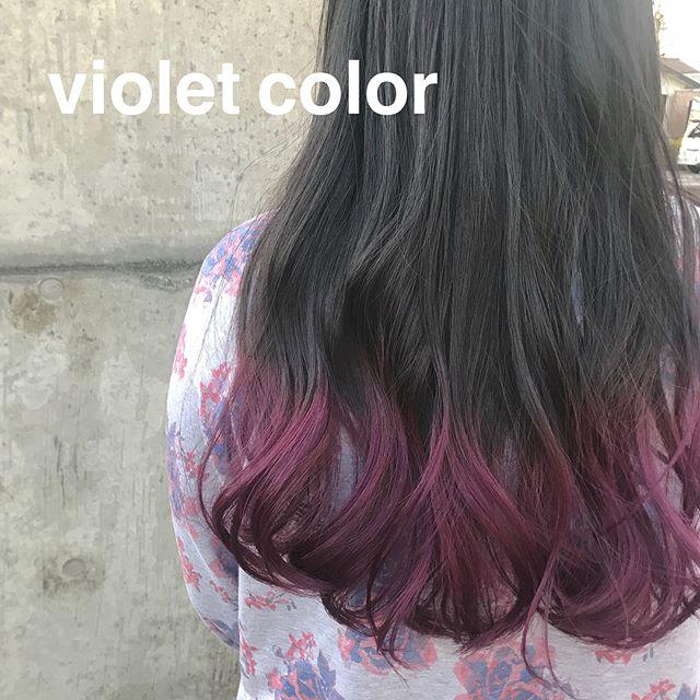 担当シオリ @shiori_tomii 毛先のみのviolet color4/1からはHEARTY @hearty__s に移動しますのでご予約はそちらからお願いします♡#abond#shiori_hair #violet#高崎美容室