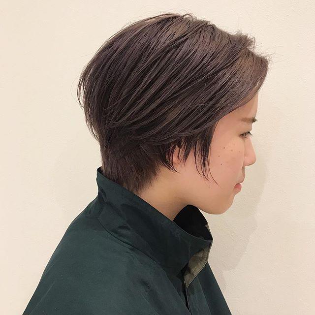 ラベンダーベージュ色落ちも綺麗なカラーです担当:杉田 @sugita.ryosuke #高崎 #高崎美容室 #ハンサムショート #ラベンダー #ベージュ #ラベンダーベージュ
