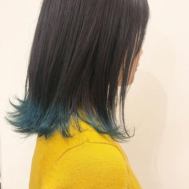 初めてのお客様︎就職前にヘアを楽しみたいということで毛先カラー︎良い色担当:杉田#高崎#高崎美容室#裾カラー#ロコル#ターコイズ