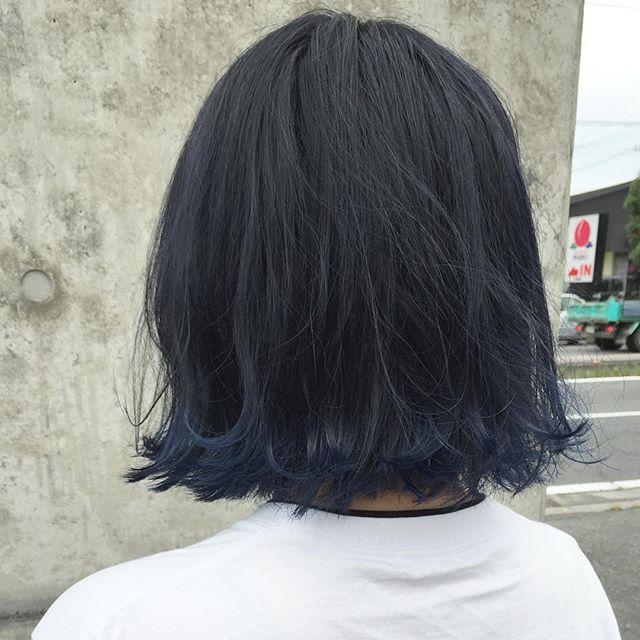 ダークネイビー+ブルーstylist:塚越@abond_tsukagoshi #abond #ブリーチ#ネイビー#ブルー