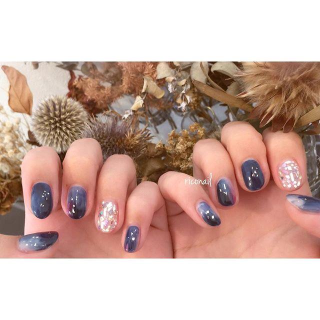 Night sky🌒#riconail #HEARTY #abond #nail #nails #gelnail #gelnails #nailart #instanails #nailstagram #beauty #fashion #nuancenail #navy #navyblue  #silver #blue #ネイル #ジェルネイル #ネイルデザイン #ニュアンスネイル #ショートネイル @riconail123