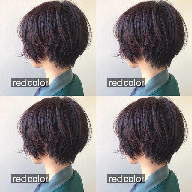担当シオリ @shiori_tomii ロングヘアからばっさりred colorショートに♡#abond #shiori_hair #shorthair #高崎美容室