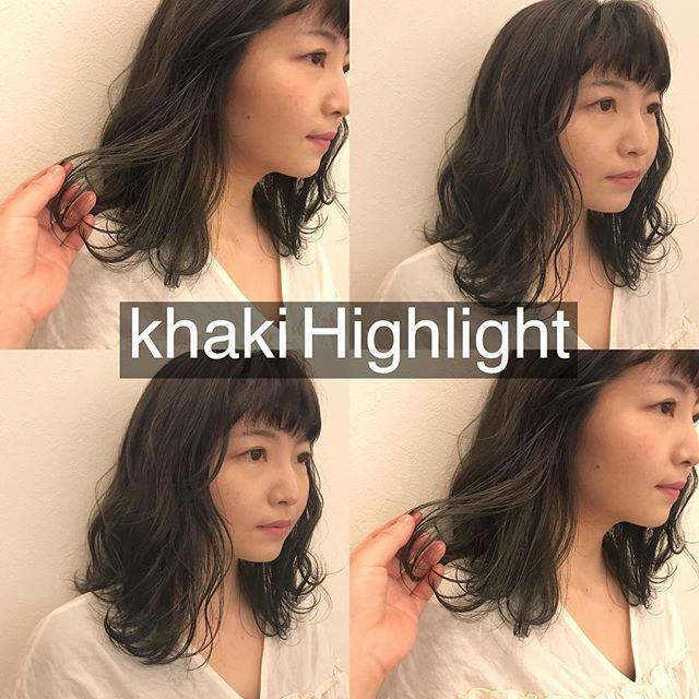 担当シオリ @shiori_tomii 最近流行りのもみあげcolorグレージュにカーキのハイライト!あえてくすませハイライトが旬です#abond #shiori_hair #グレージュ#カーキ#ハイライト#高崎美容室