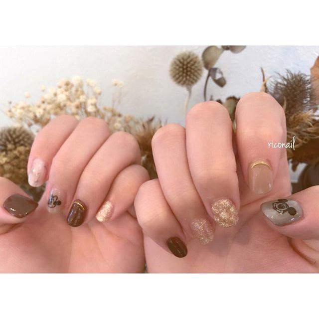 ミッキー&ミニー︎︎#riconail #HEARTY #nail #nails #gelnail #gelnails #nailart #instanails #nailstagram #beauty #fashion #nuancenail #brown #gold #MickeyMouse #Disney #ネイル #ジェルネイル #ネイルデザイン #ディズニーネイル #ニュアンスネイル #ショートネイル @riconail123