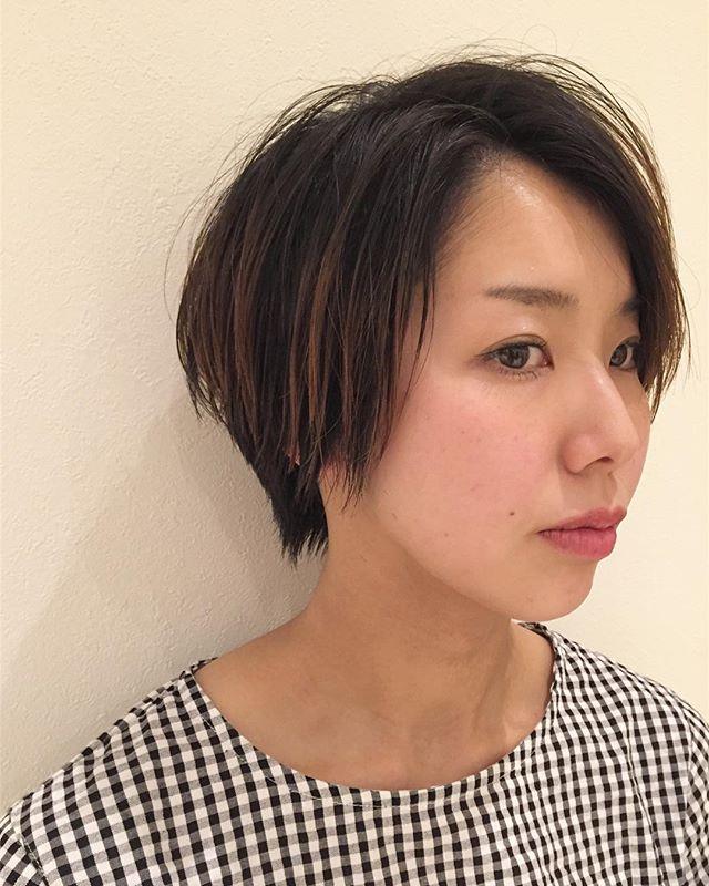 stylist:塚越伸びかけのカラーを間引いてハイライトっぽい束間に︎#abond#高崎#ショート#ハイライト#美容室#カット
