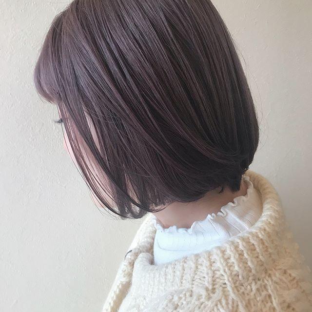 担当シオリ @shiori_tomii 淡いピンクパールBOB hair少しラベンダーも混ぜてあるので色落ちもかわいいです#abond #shiori_hair #ラベンダー#ピンクベージュ#ピンクアッシュ#高崎美容室