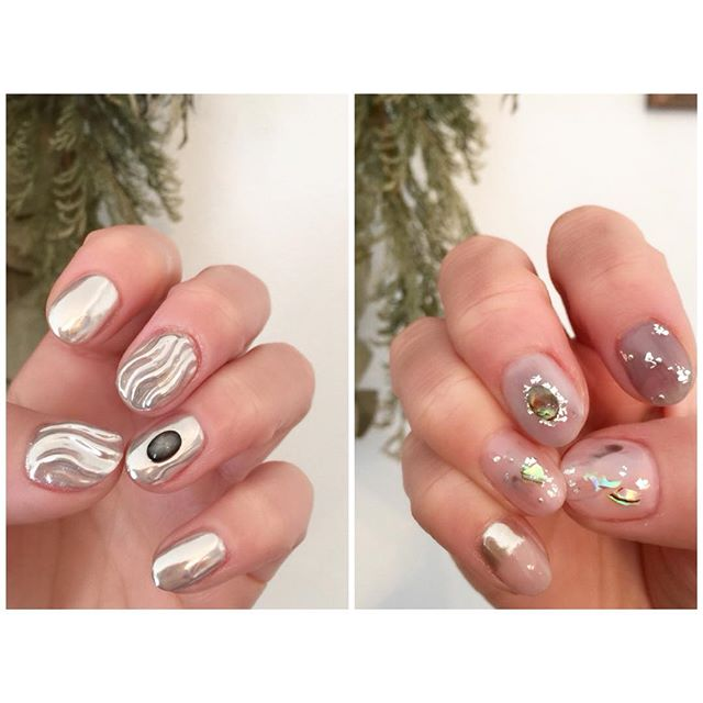 ミラーとシアーのアシンメトリー︎#riconail #HEARTY #abond #nail #nails #gelnail #gelnails #nailart #instanails #nailstagram #silver #beauty #fashion #nuancenail #silver #ネイル #ジェルネイル #ネイルデザイン #ミラーネイル #アシンメトリーネイル #ニュアンスネイル #ショートネイル #シアーネイル @riconail123