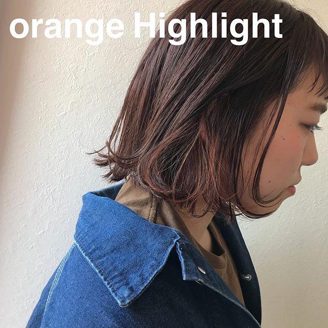 担当シオリ @shiori_tomii orange hair 4/1からはHEARTY @hearty__s に移動しますのでご予約はそちらからお願いします♡#abond#shiori_hair #bob#高崎美容室