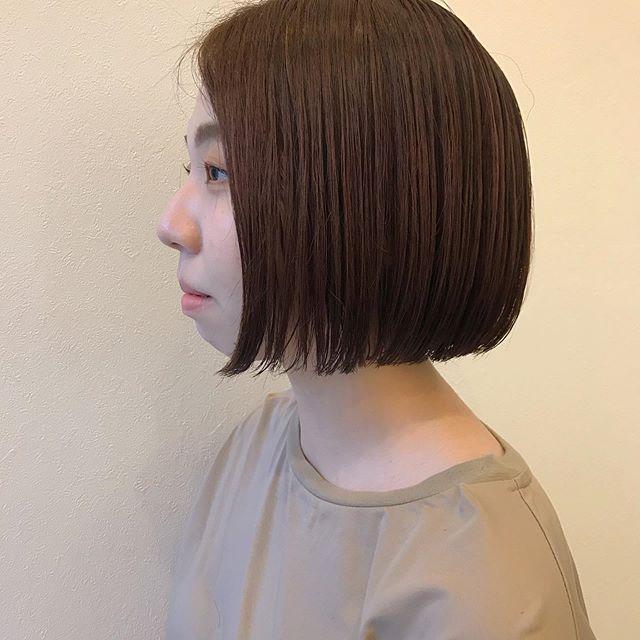 ワンレングスボブ♀️ライン感は残しつつ重くなりすぎないように調整︎担当 : @sugita.ryosuke # 高崎 #高崎美容室 #abond #ボブ #ウルフ #ショート #オレンジカラー #インナーカラー #ヘアセット