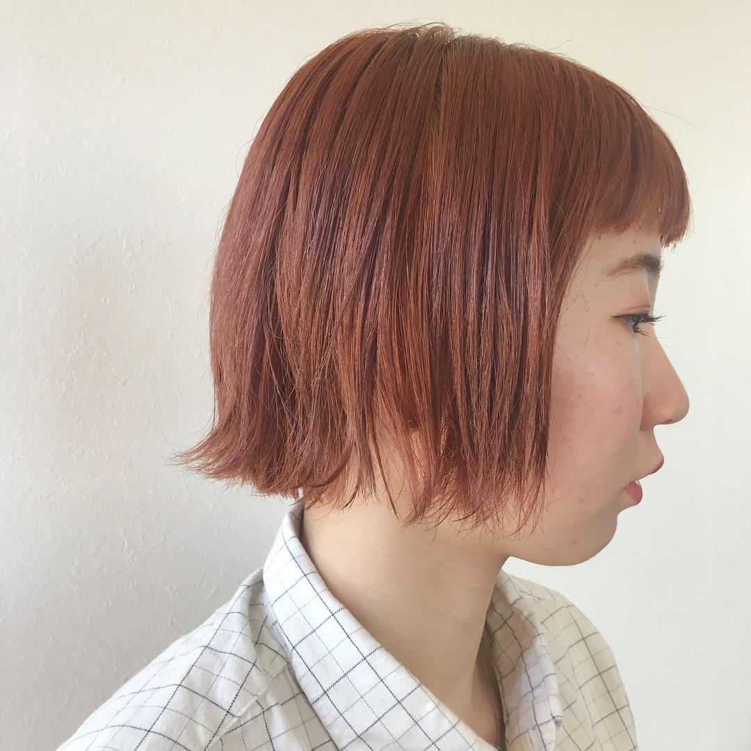 担当シオリ @shiori_tomii orange colorにBOBがお似合い♡#abond #shiori_hair #orangehair #orange #オレンジカラー #高崎美容室